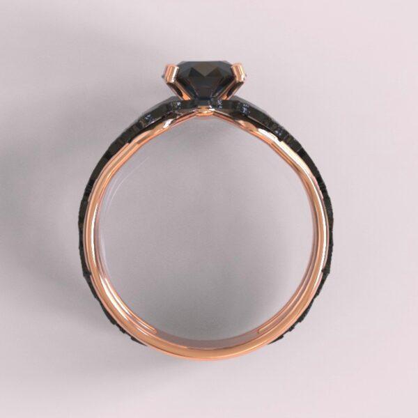 batman engagement ring rose and black gold 4