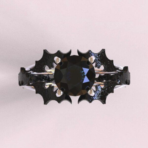 batman engagement ring white black gold 3