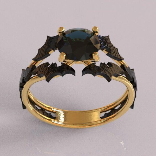 batman engagement ring yellow and black gold 1