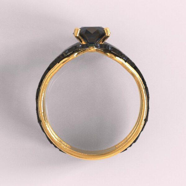 batman engagement ring yellow and black gold 4