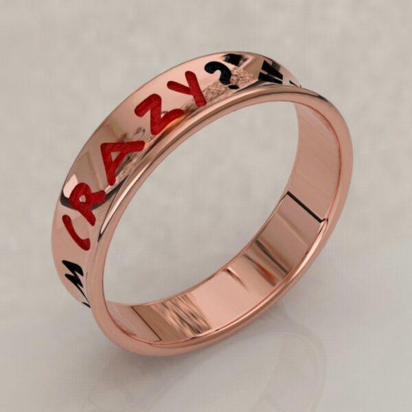 harley quinn wedding band rose gold 3