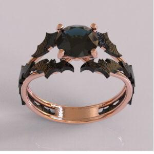 batman engagement ring rose and black gold 1
