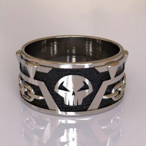 spawn wedding band silver black 1