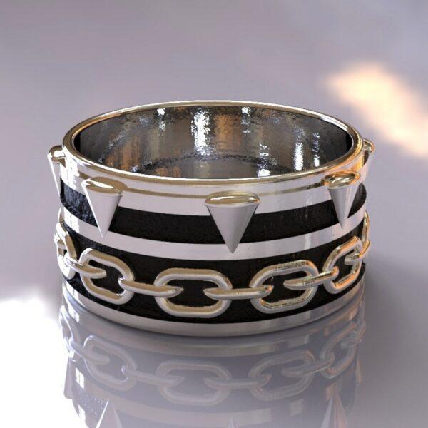 spawn wedding band silver black 3