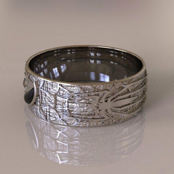 spiderman wedding band silver 1