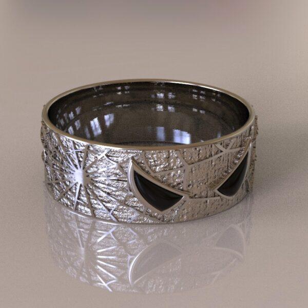 spiderman wedding band silver 3