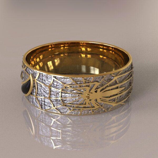 spiderman wedding band silver gold 1