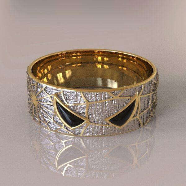 spiderman wedding band silver gold 2