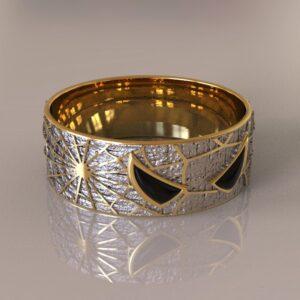 spiderman wedding band silver gold 3