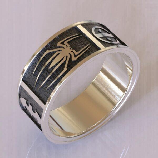 Superhero wedding band white and black gold 4