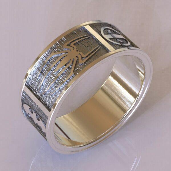 Superhero wedding band white gold 4
