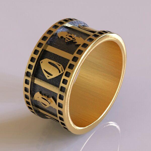 superhero wedding band wide gold 3